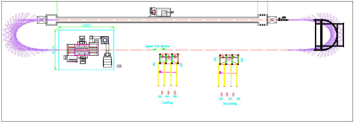 Powder coating line CAD drawing